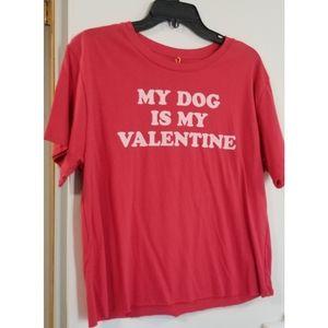 Mighty Fine Red Tee MY DOG IS MY VALENTINE, XL (J)